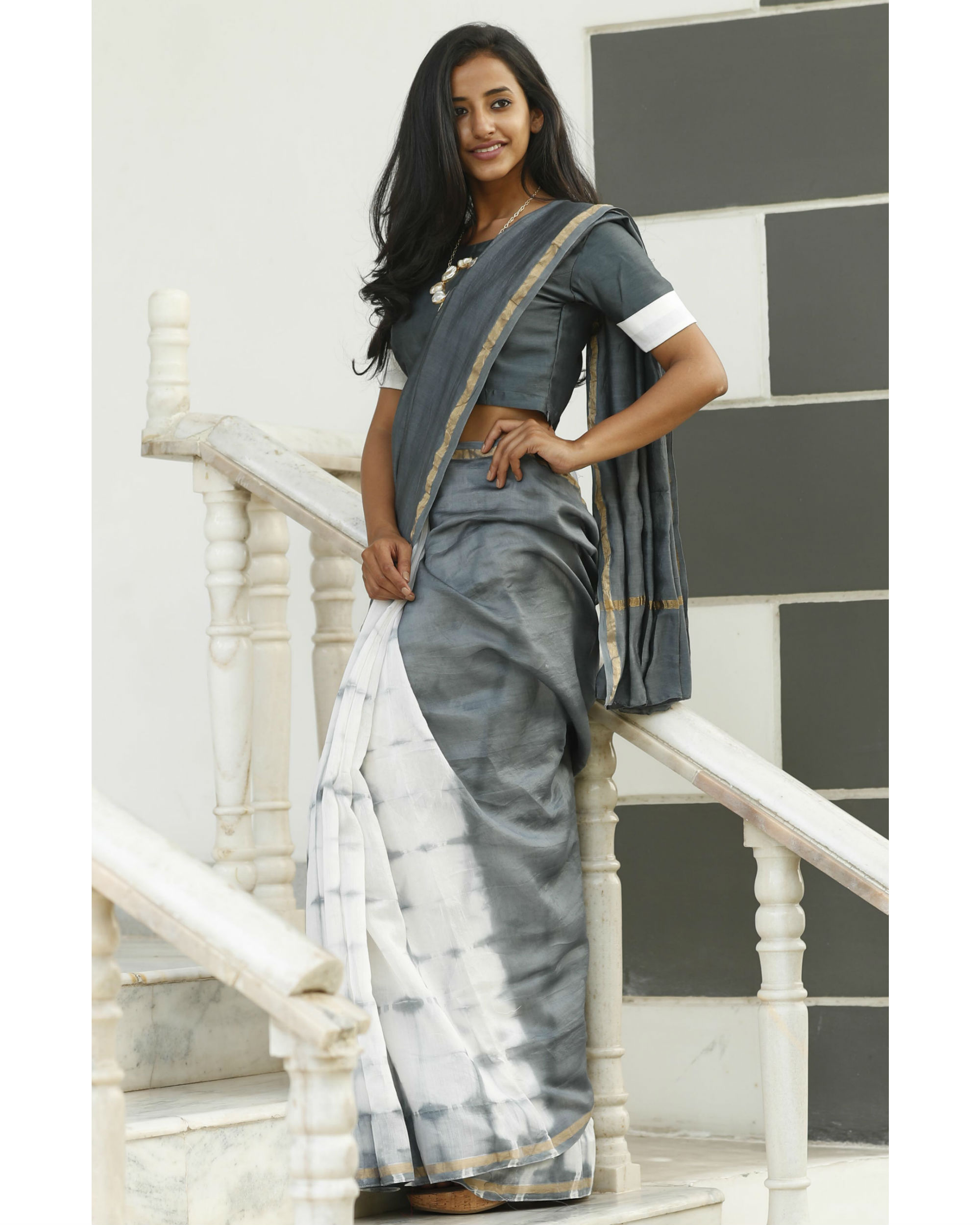 Dove and ash grey chanderi sari