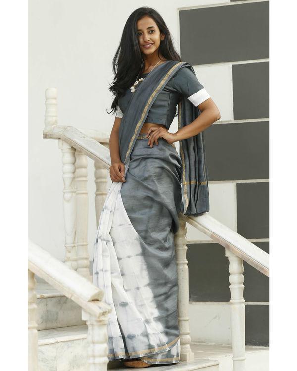 Dove and ash grey chanderi sari