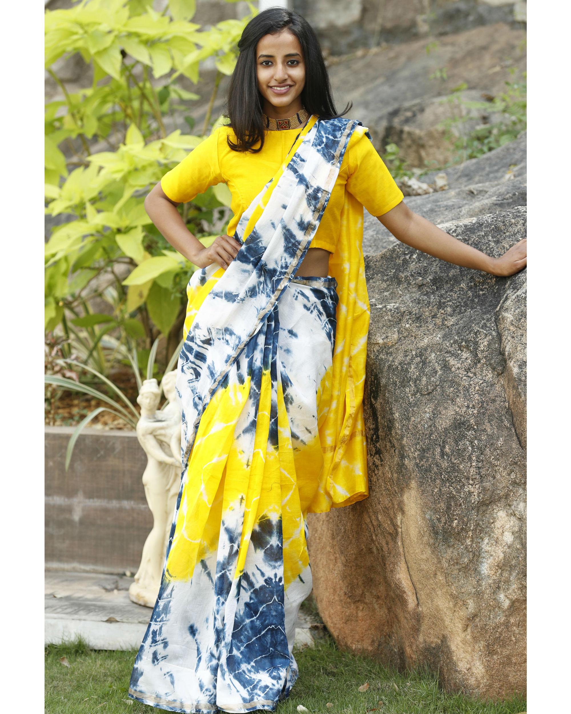 Yellow and prussian blue chanderi  sari