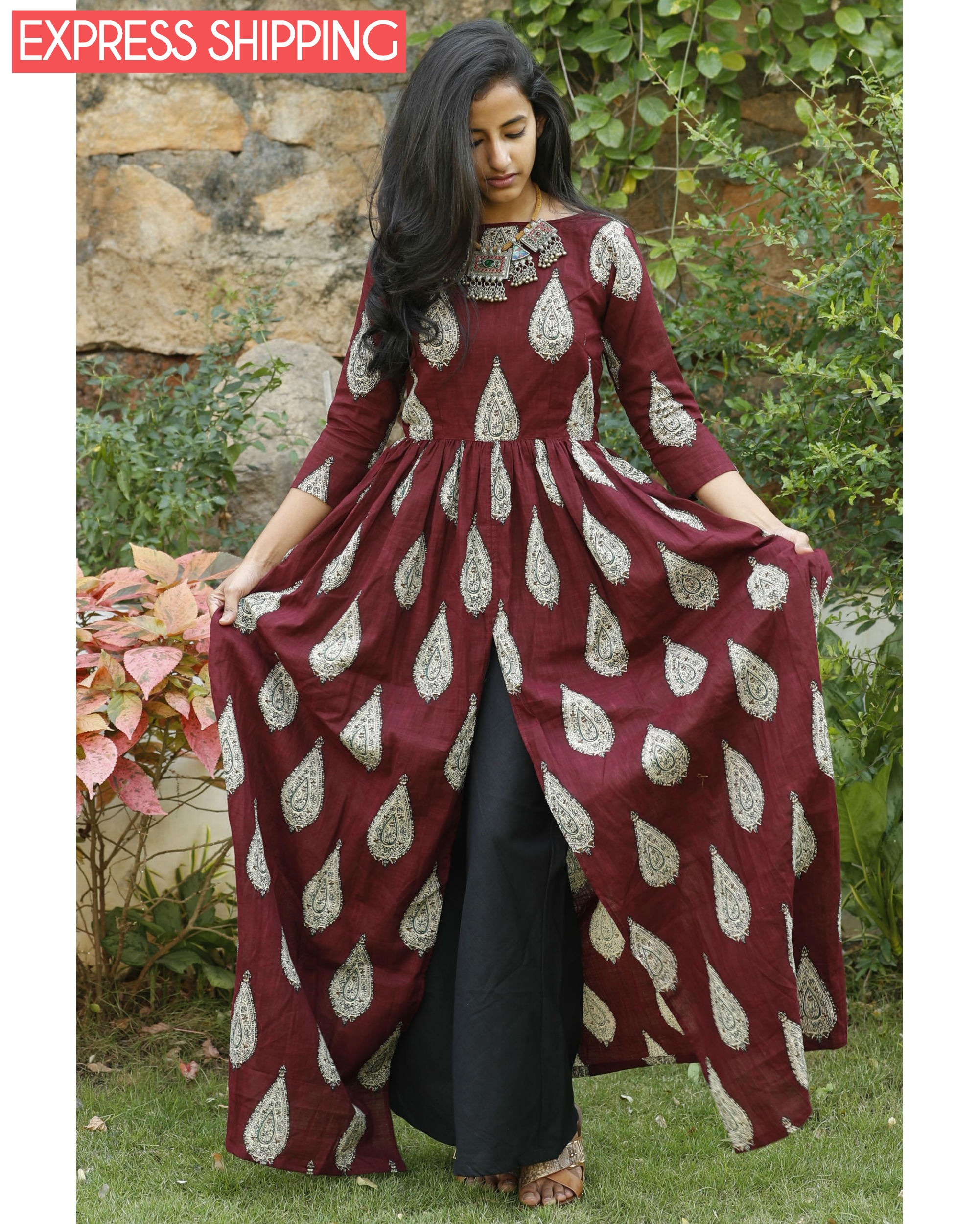 Maroon cotton flared cape