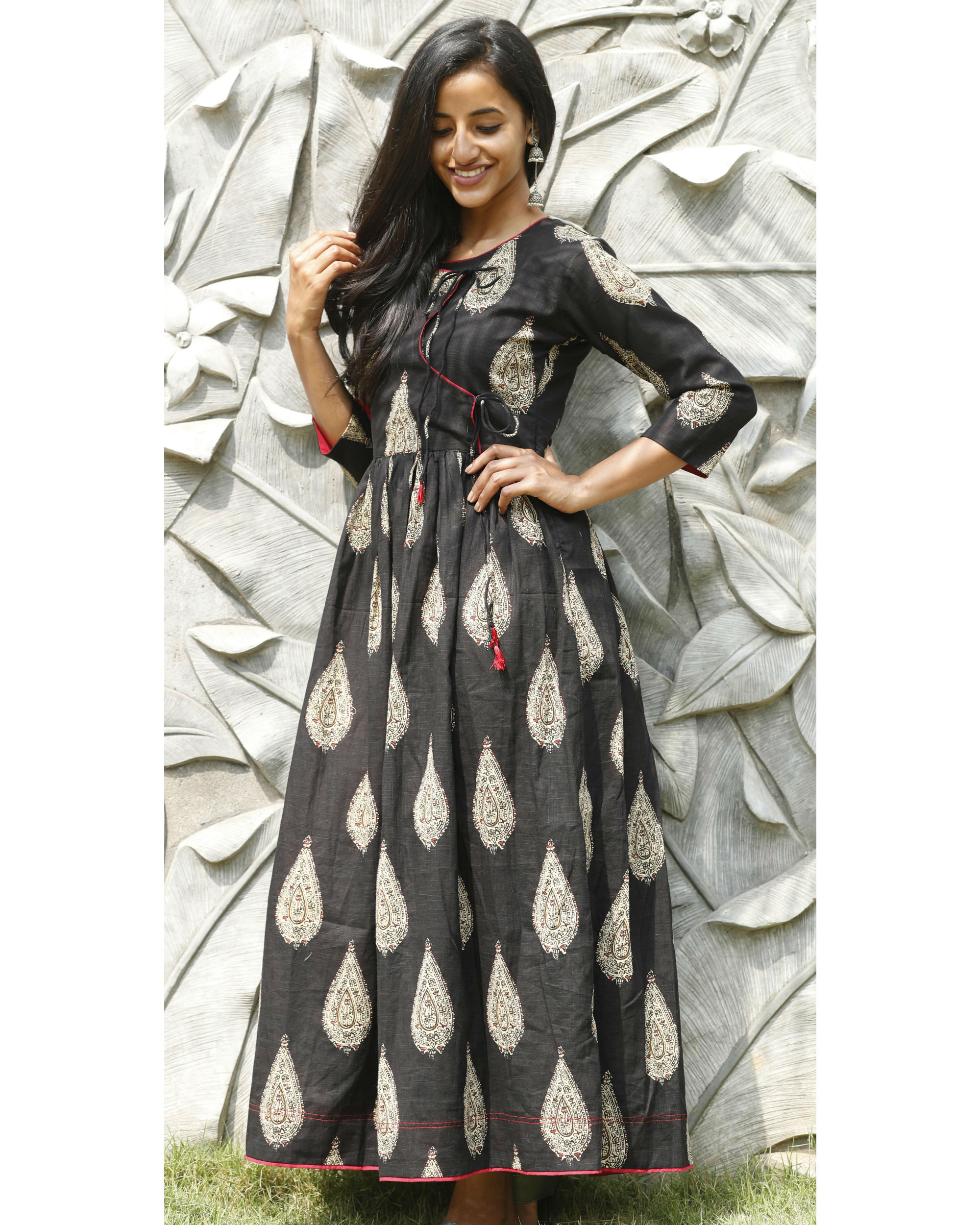 Black angrakha flared dress