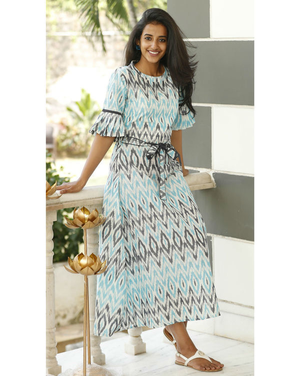 Arctic blue and ash grey ikat dress