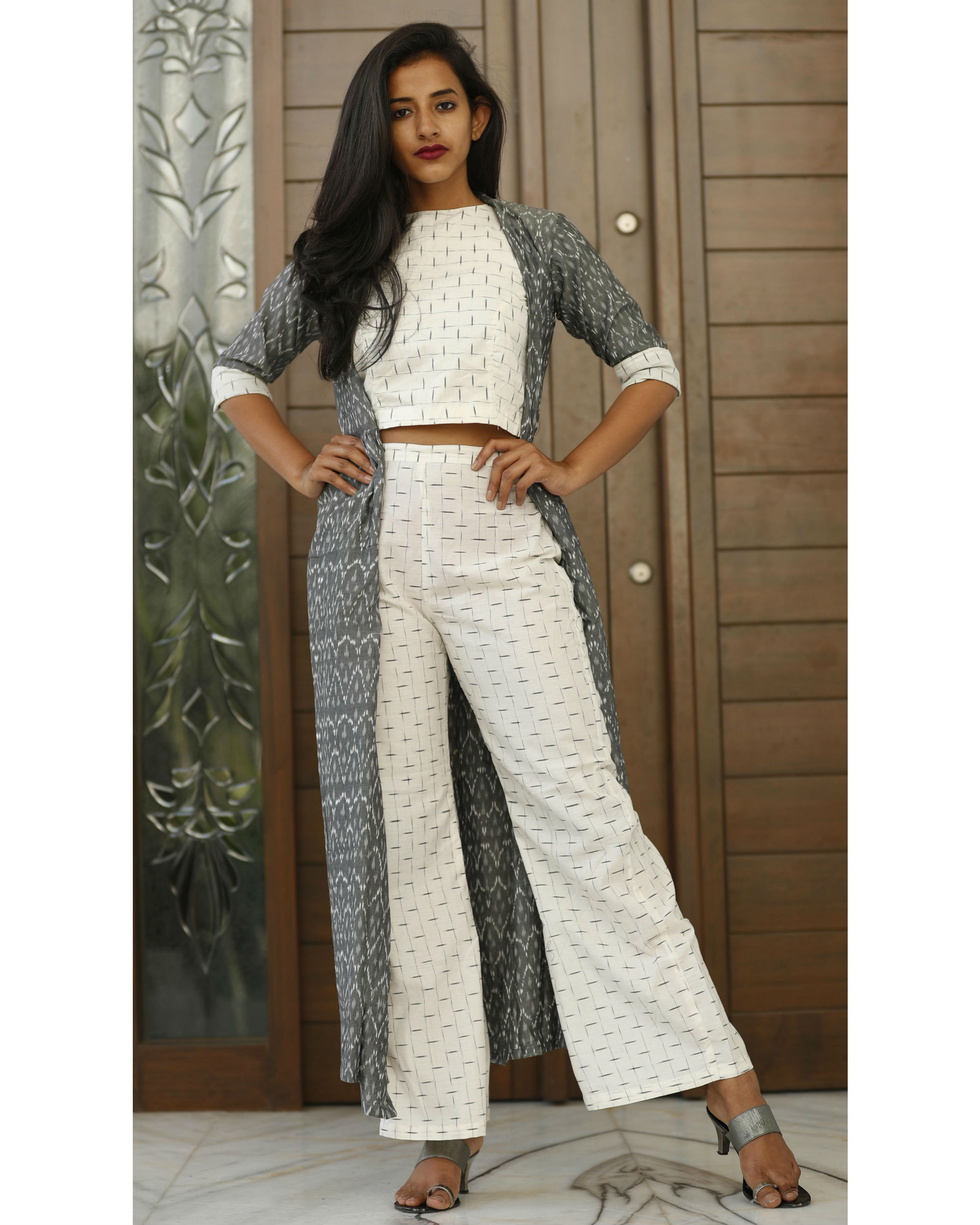 White ikat crop top with ash grey jacket