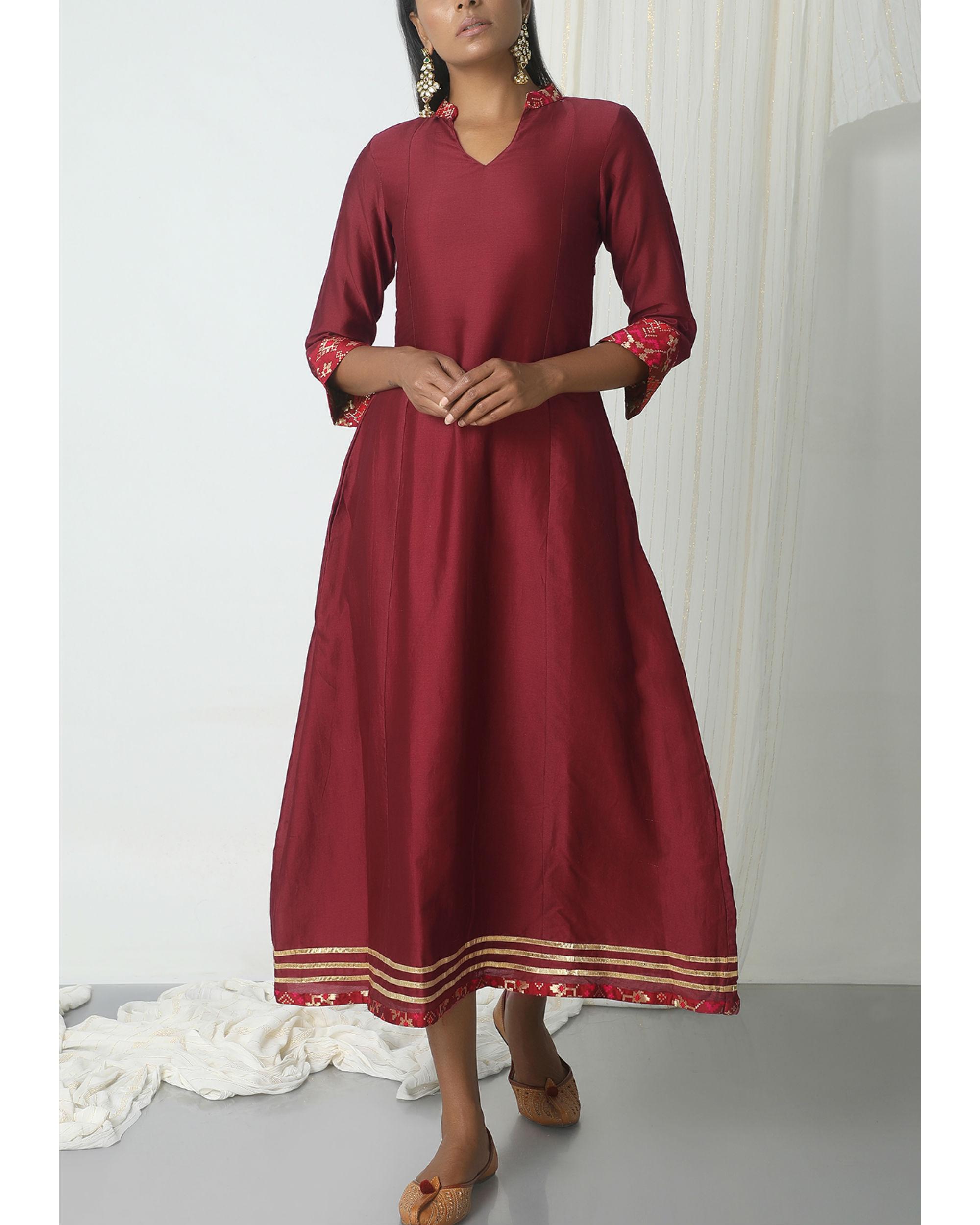 Maroon brocade gota kurta dress
