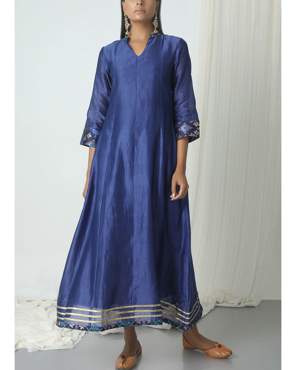 Blue brocade gota kurta dress