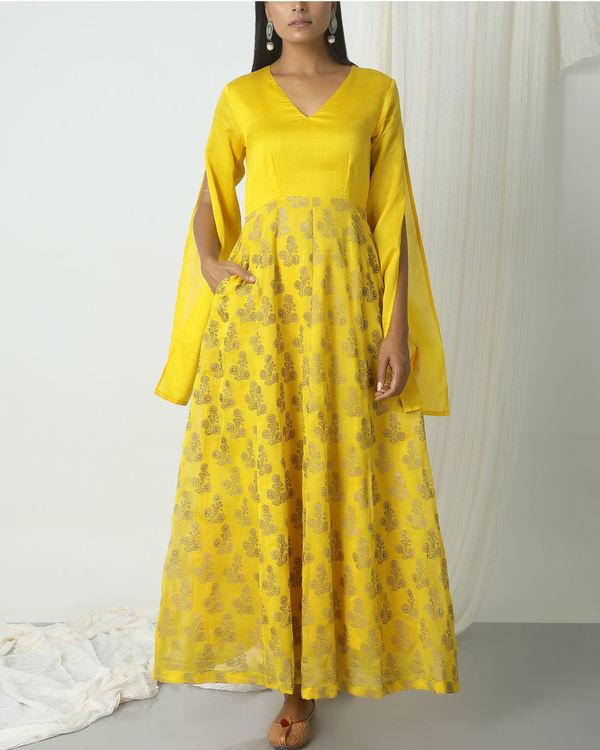 Yellow deep floral dress