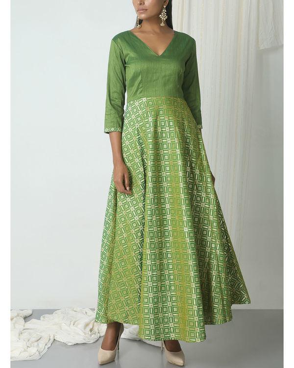 Green grid brocade dress