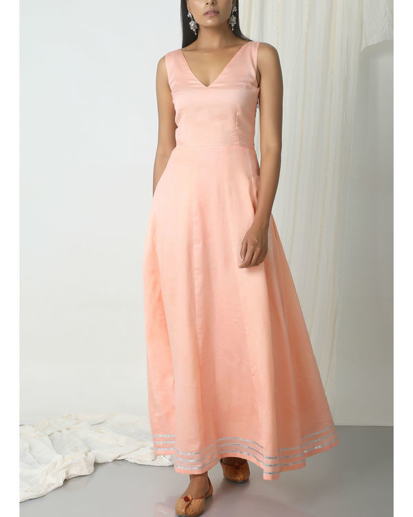 Peach green gota dress