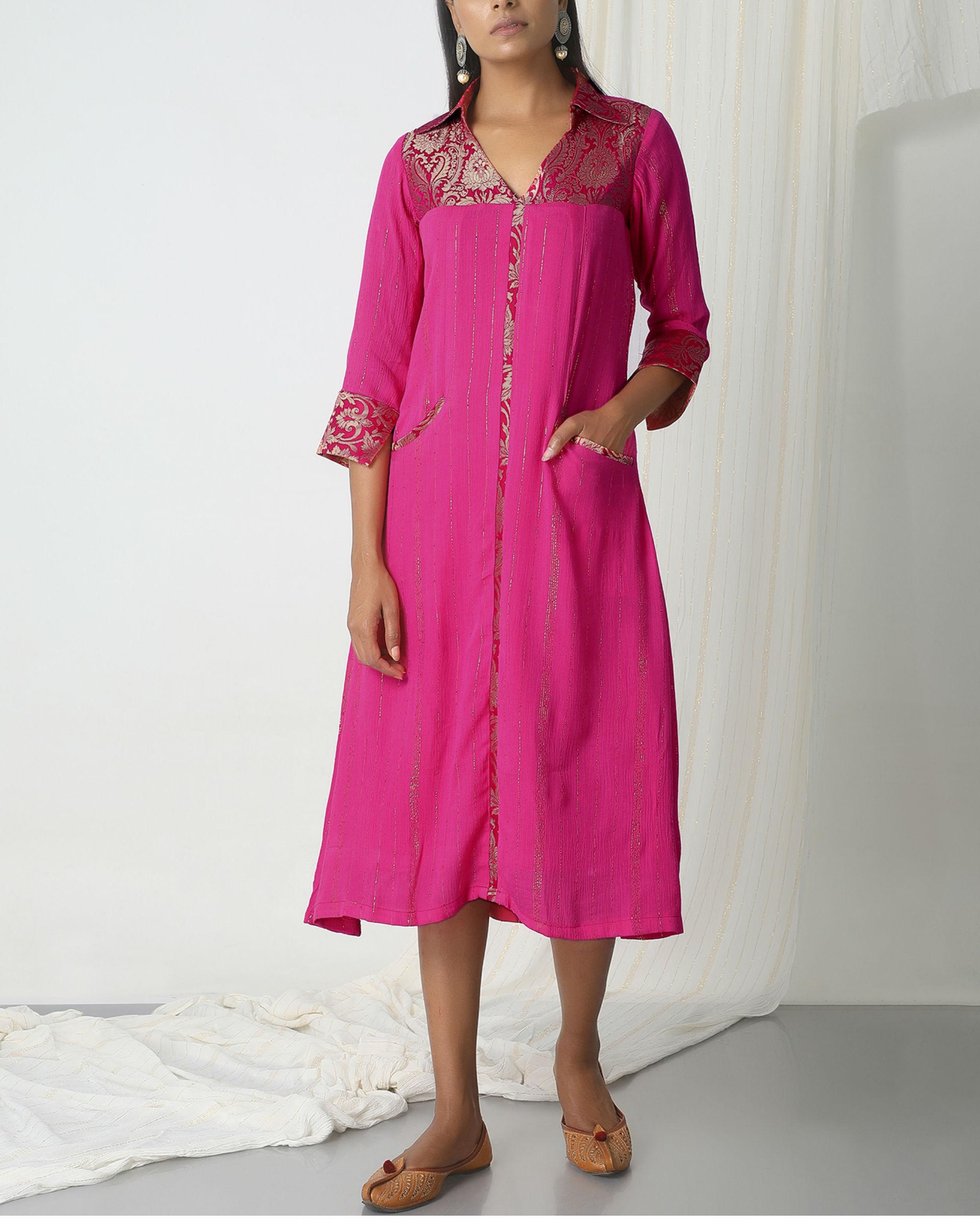 Pink brocade shirt dress
