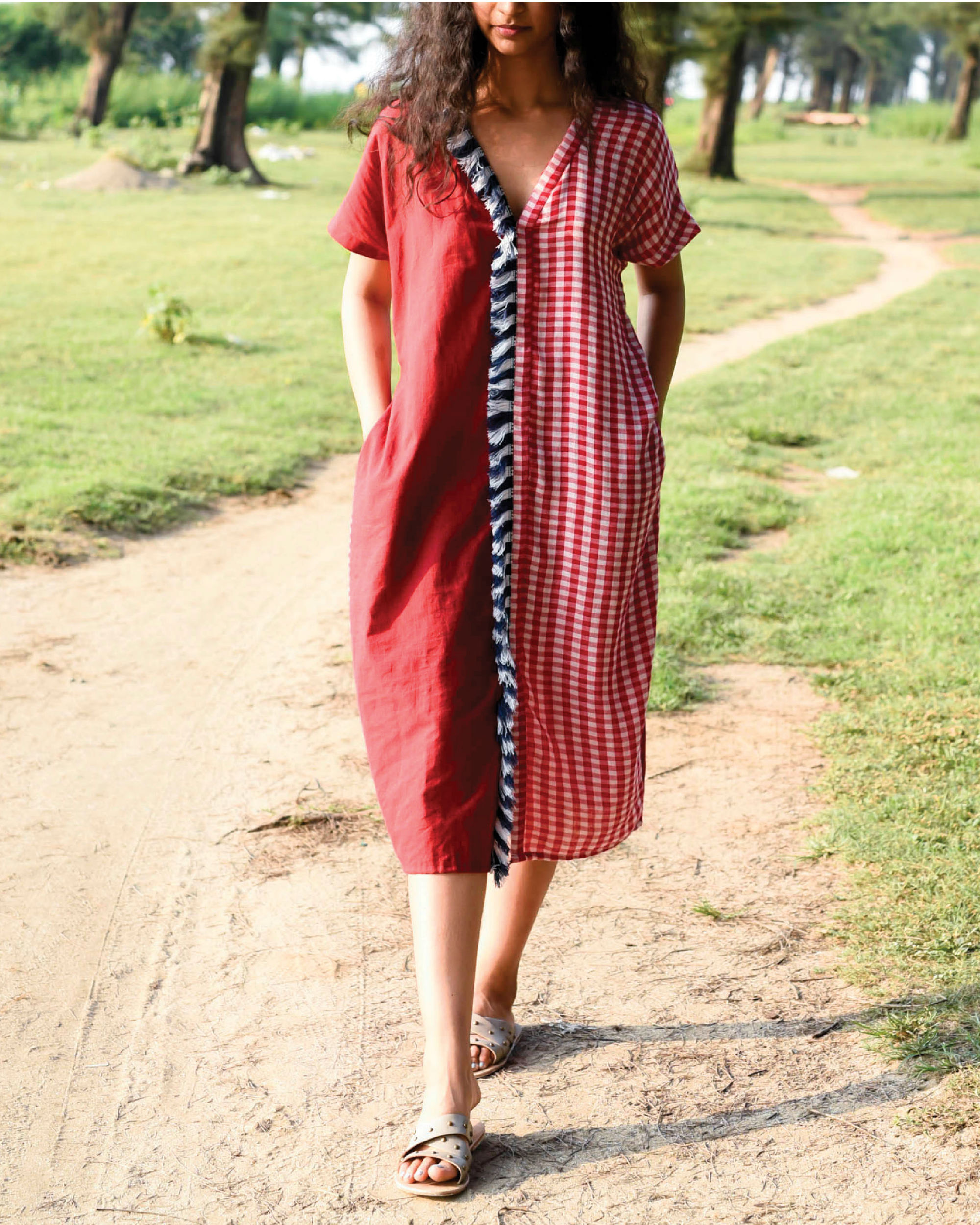 Bhutan red kaftan dress