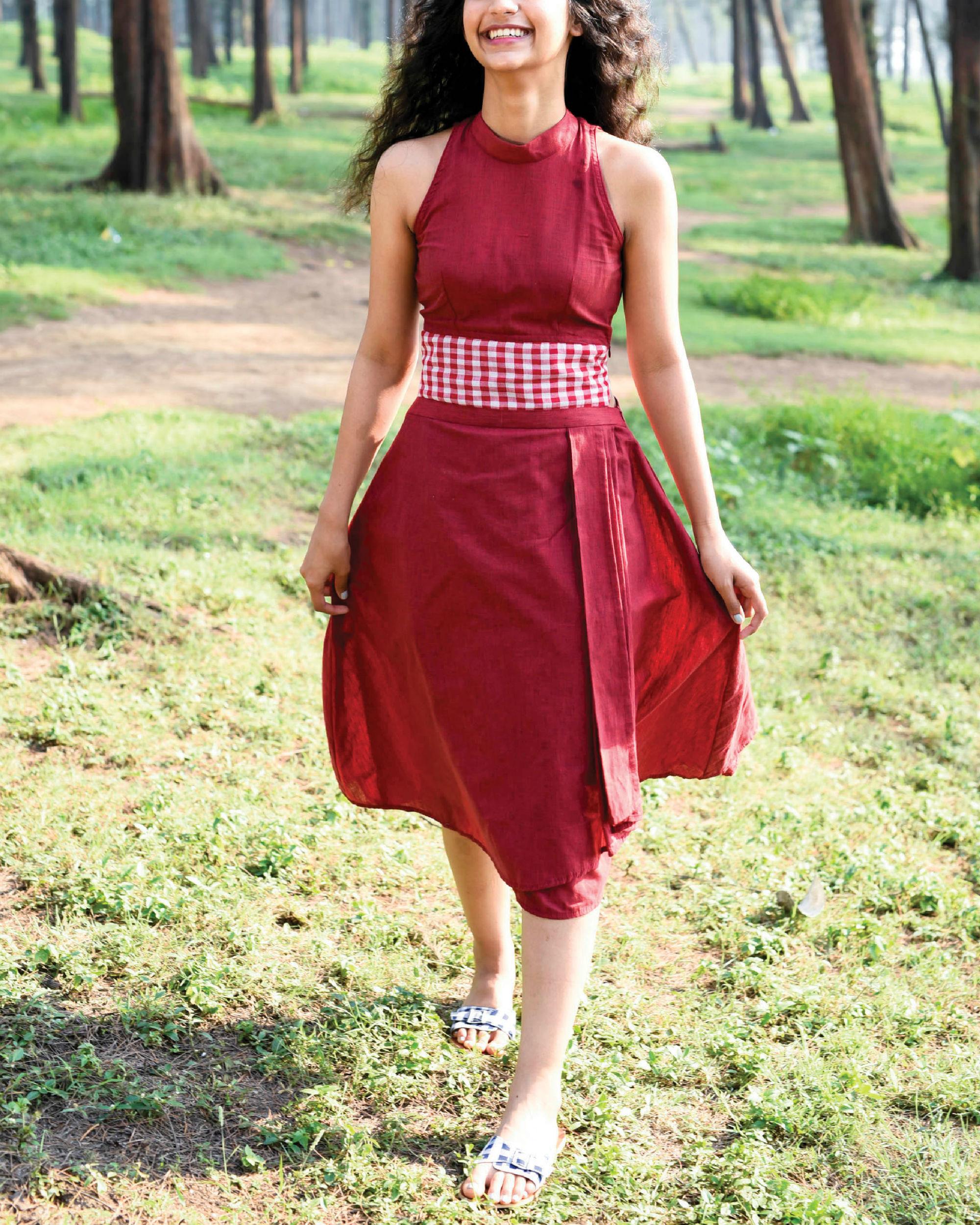 Bhutan red karma dress