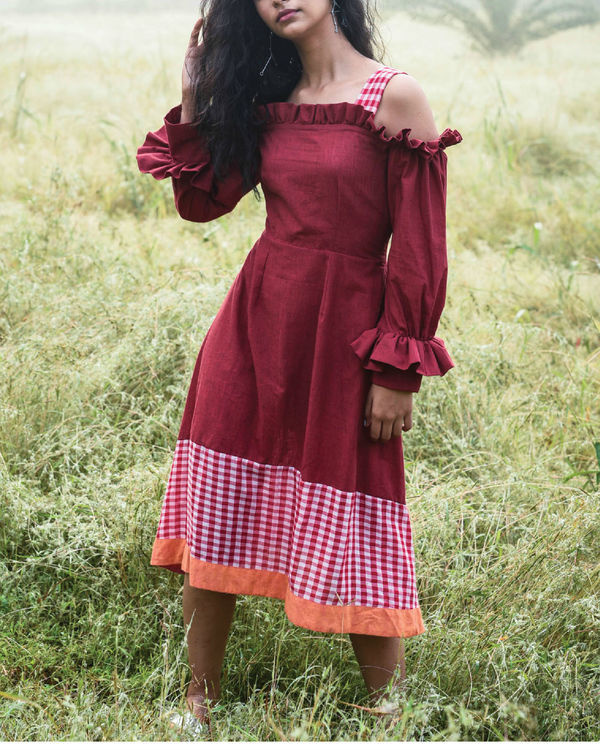 Bhutan red ruffle dress
