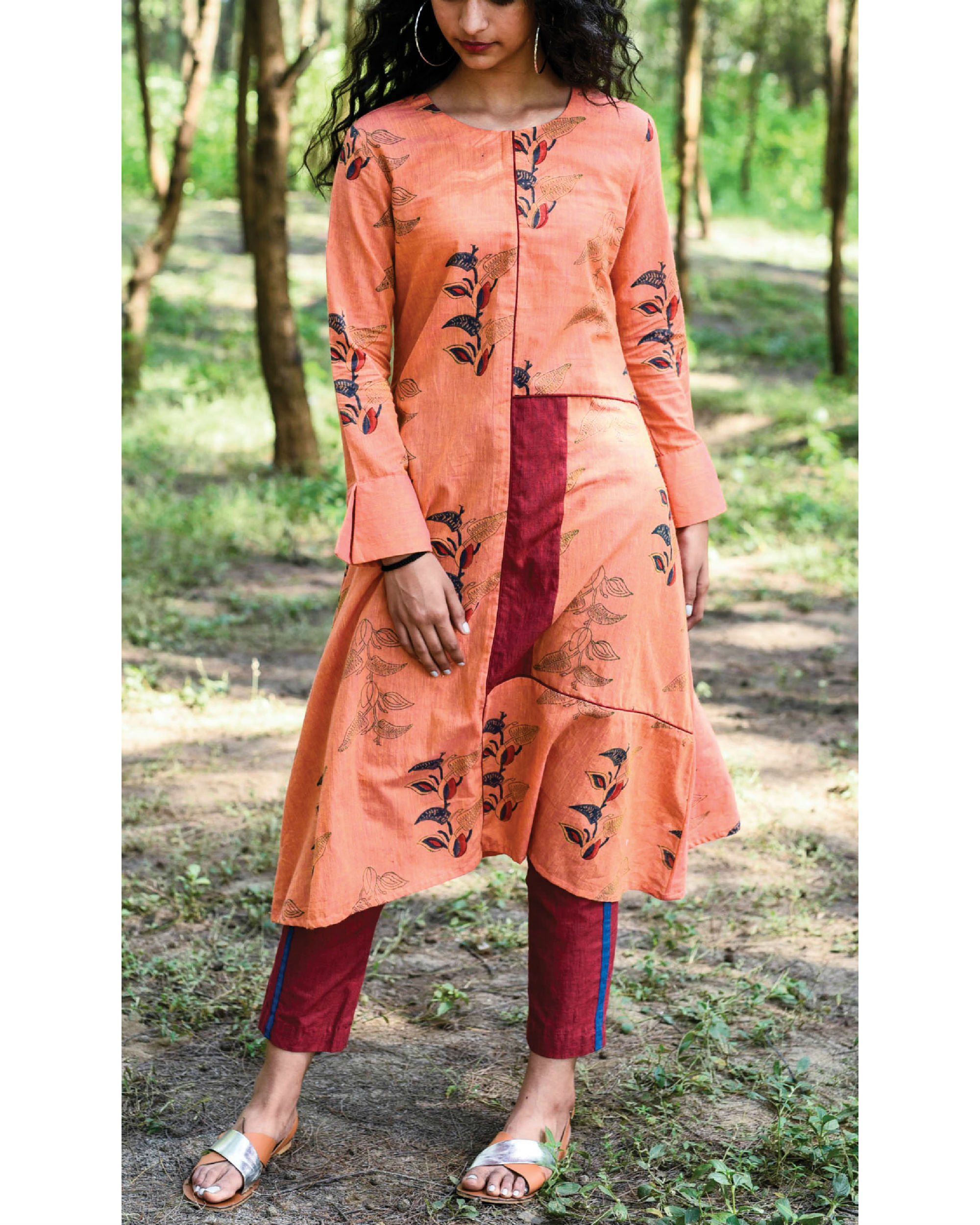 Pumpkin orange paro kurta set