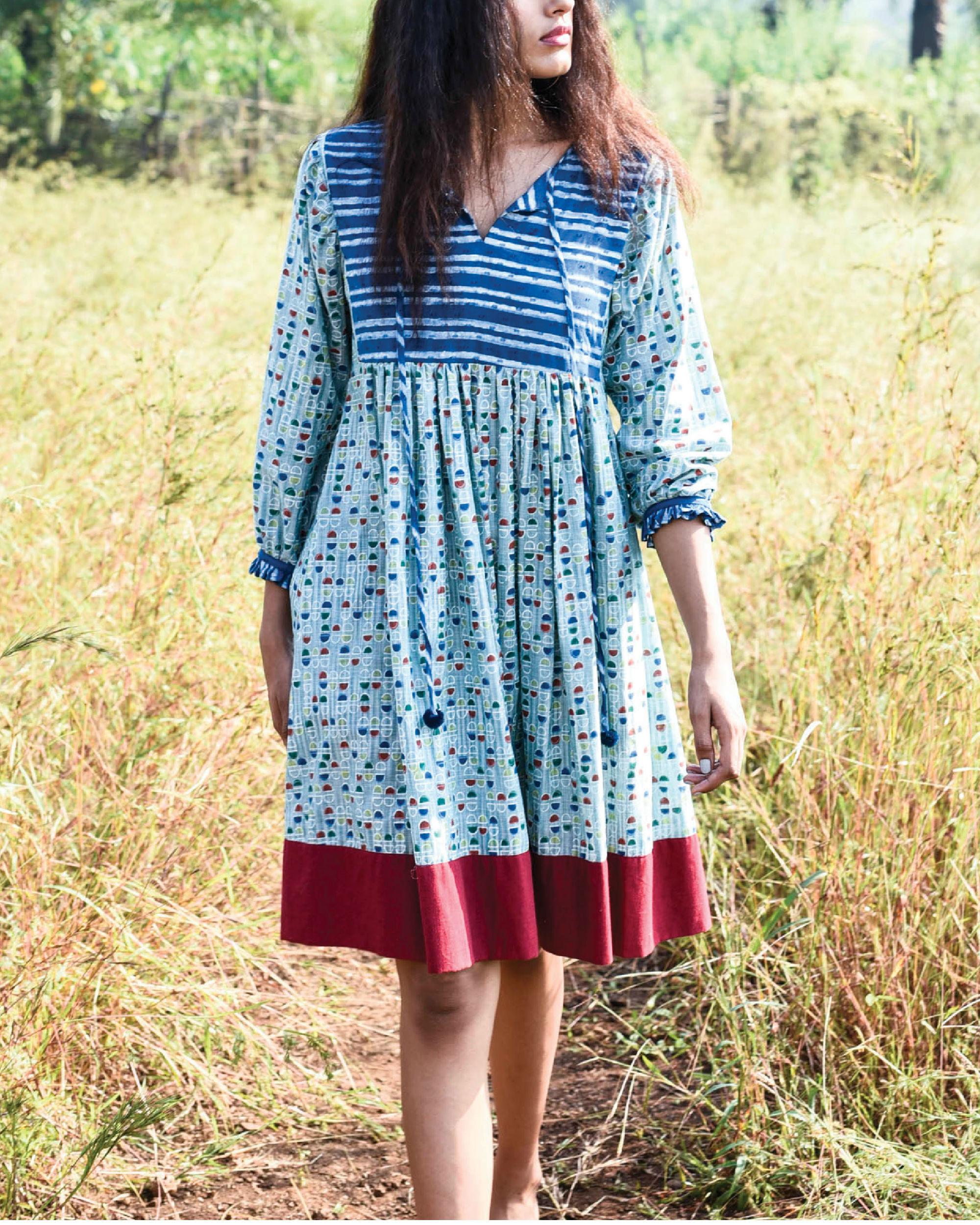 Sea foam peasant dress