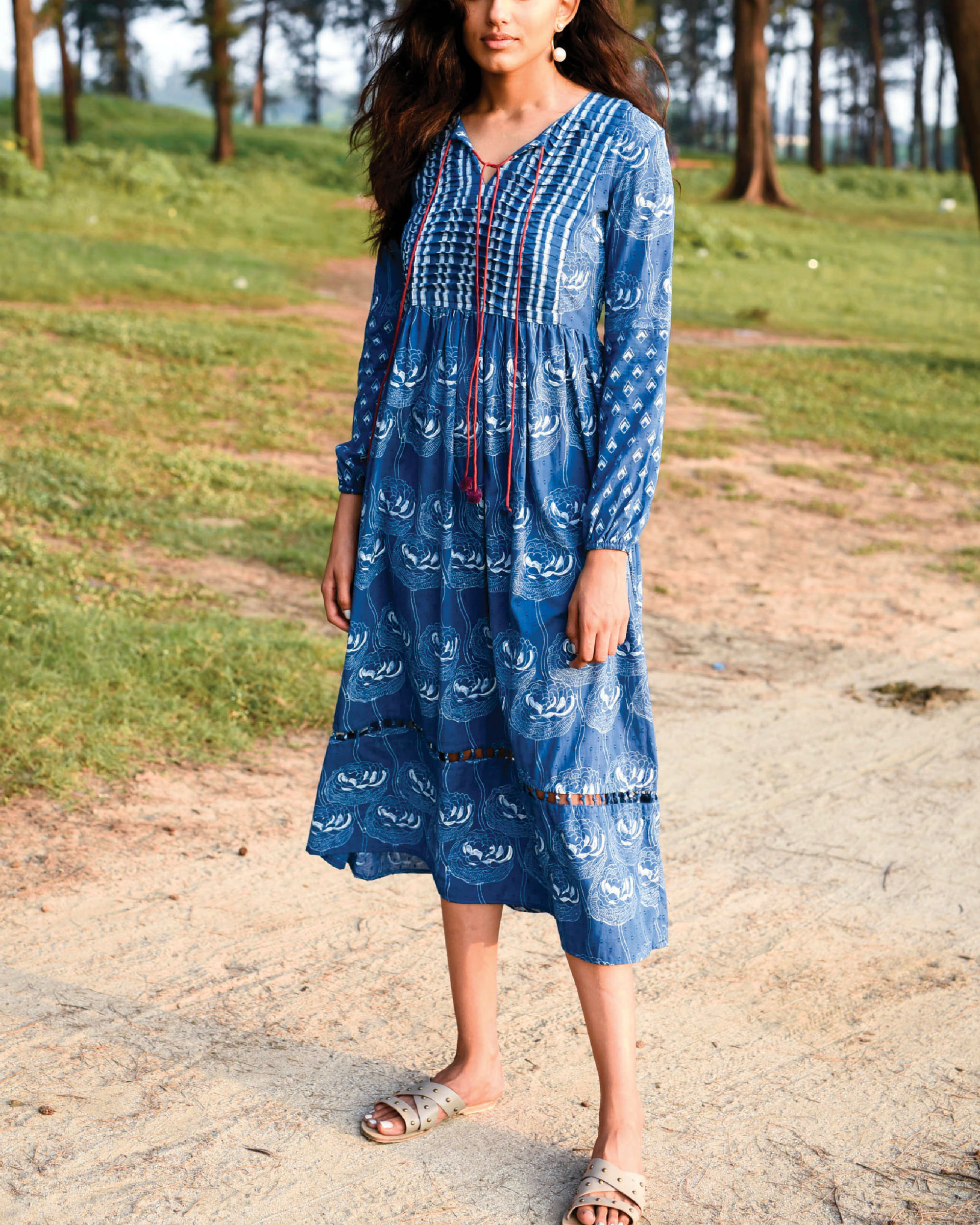 Zaffre blue peasant dress