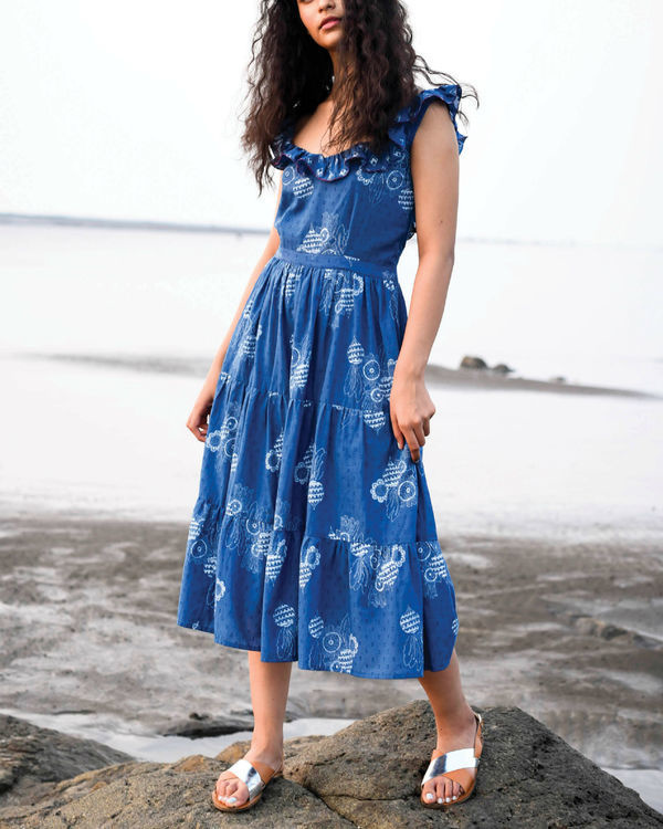 Zaffre blue ruffle dress