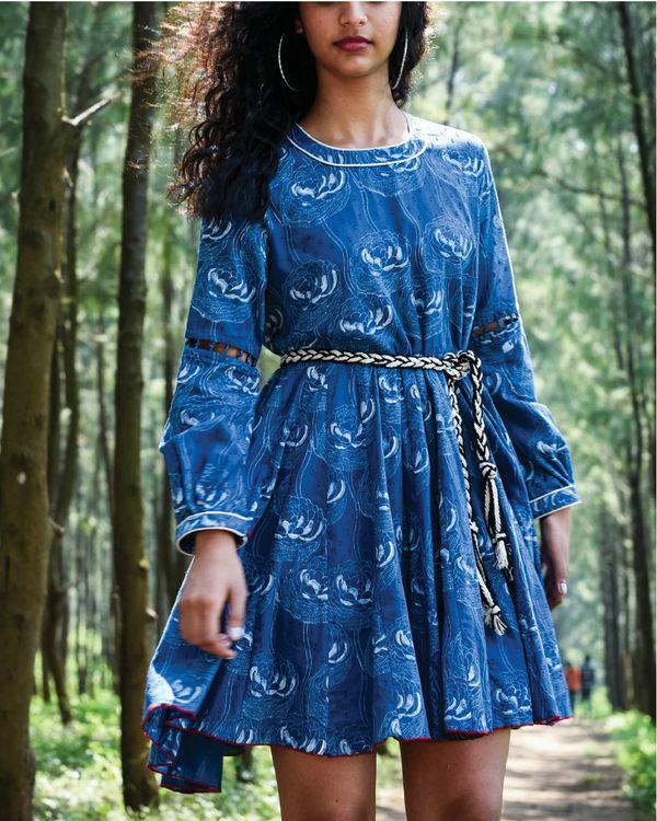 Zaffre blue flared dress