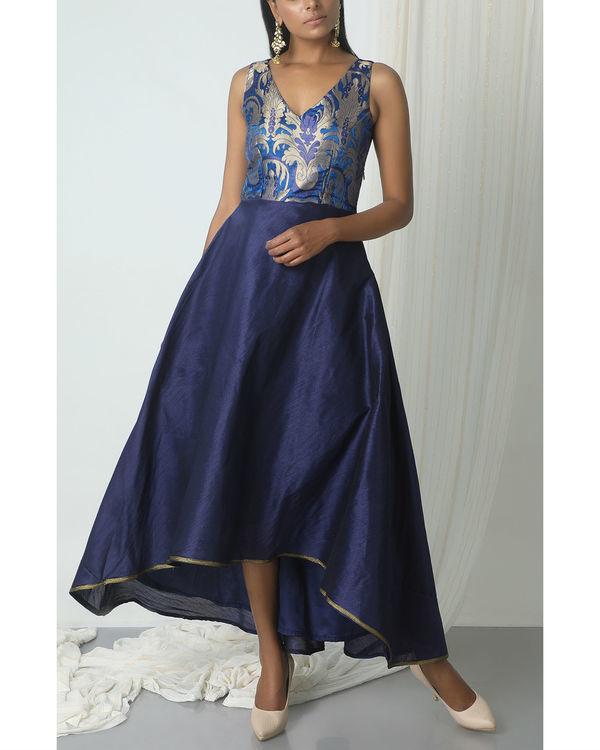 Blue brocade asymmetric hem dress