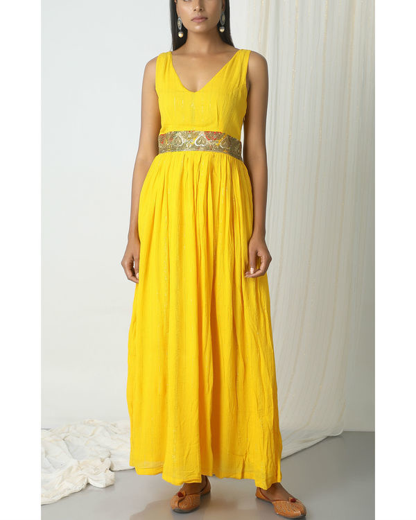 Yellow crinkled lace dress