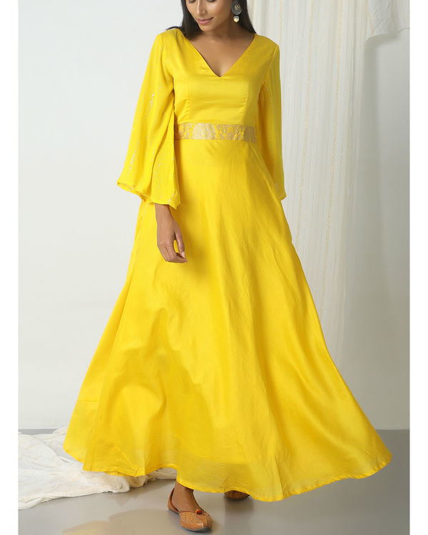 Yellow brocade bell sleeve dress