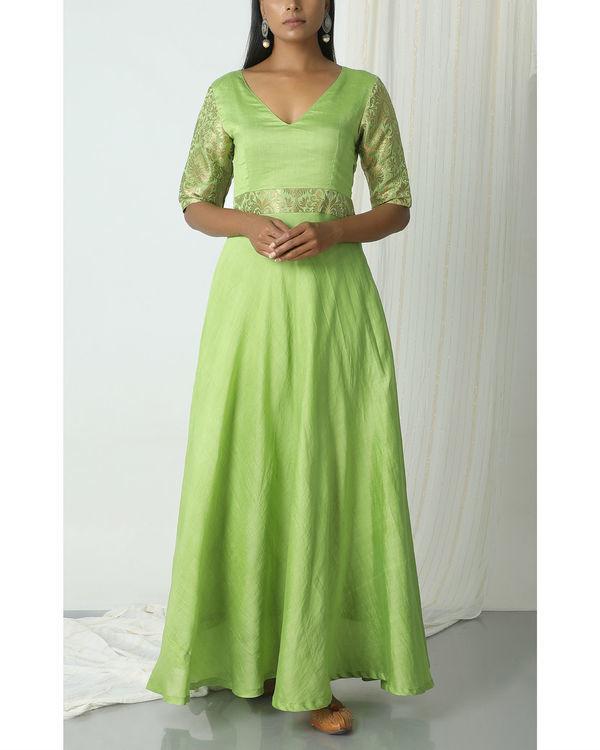 Chartreuse green brocade highlight dress