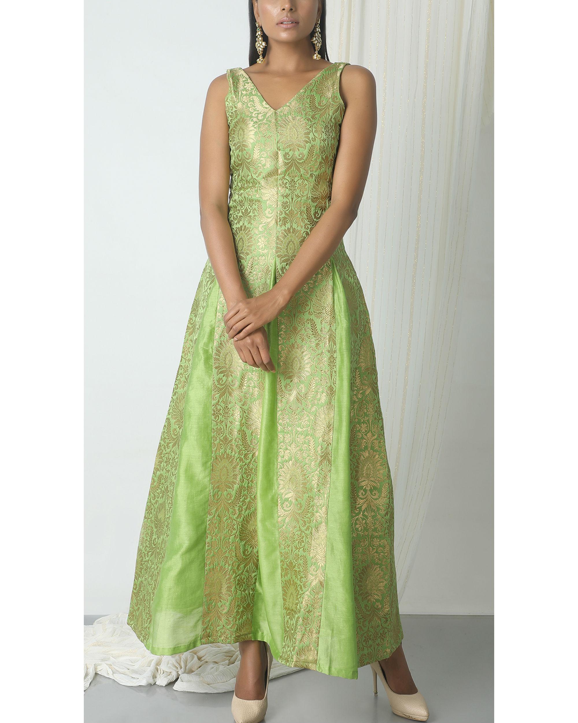 Chartreuse green brocade dress by trueBrowns | The Secret Label