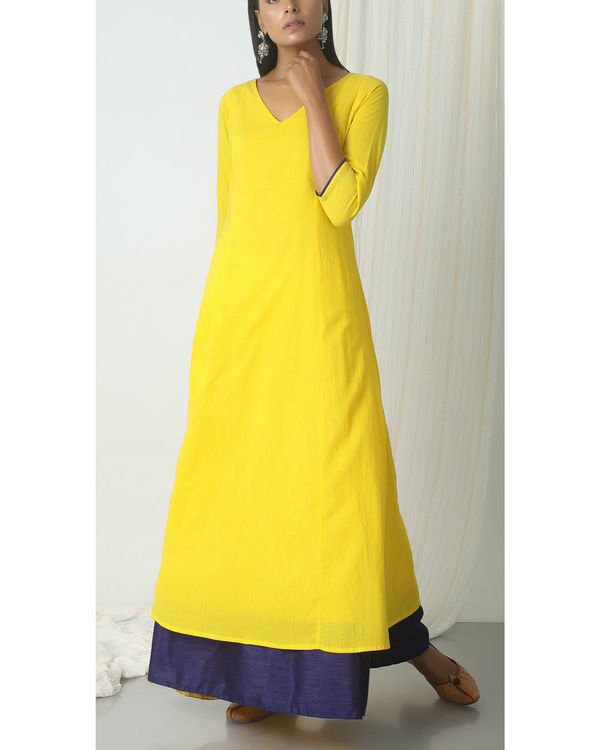 Yellow blue peek-a-boo dress