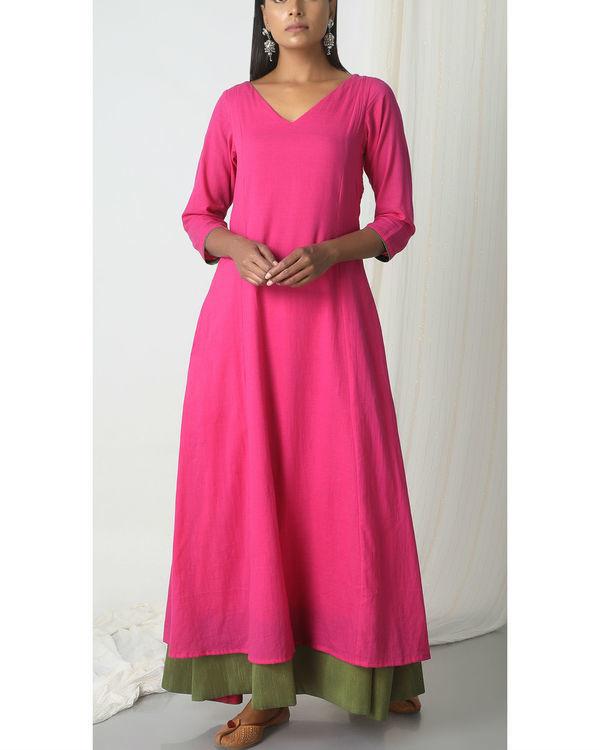 Pink green peek-a-boo dress