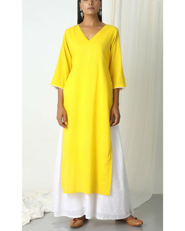 Yellow kurta silver white flare suit dress