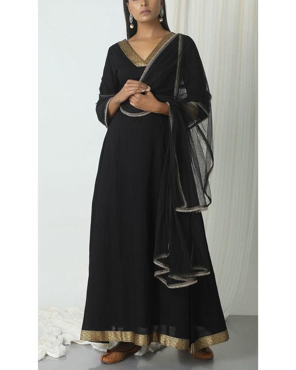 Black golden border dupatta dress