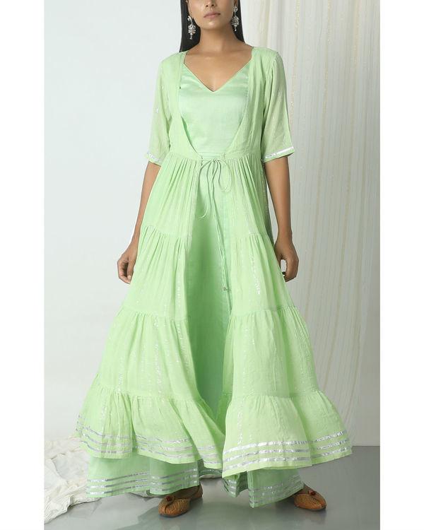 Mint green crinkled jacket dress set