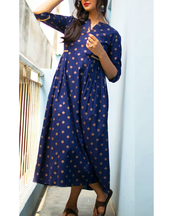 Navy print gathered dress