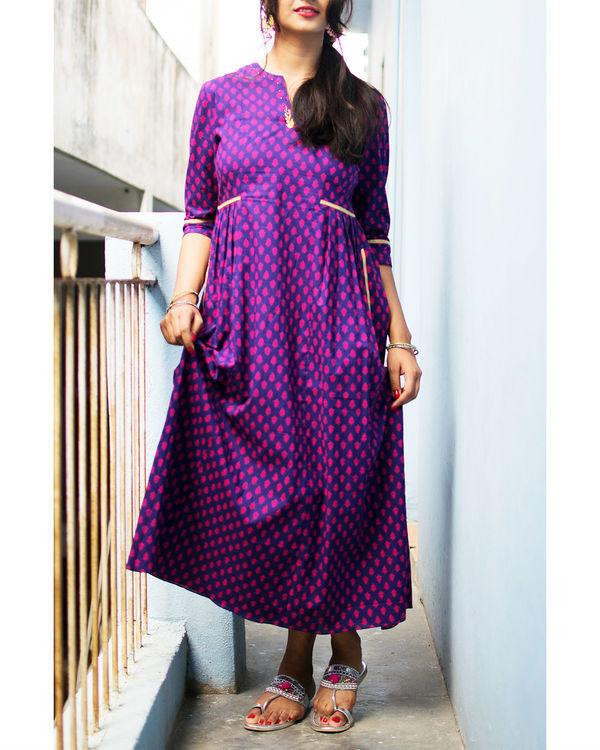 Purple and pink motif dress