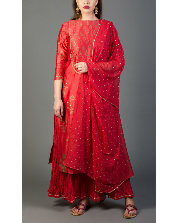 Rhubarb red mughal bootah kurta set with dupatta