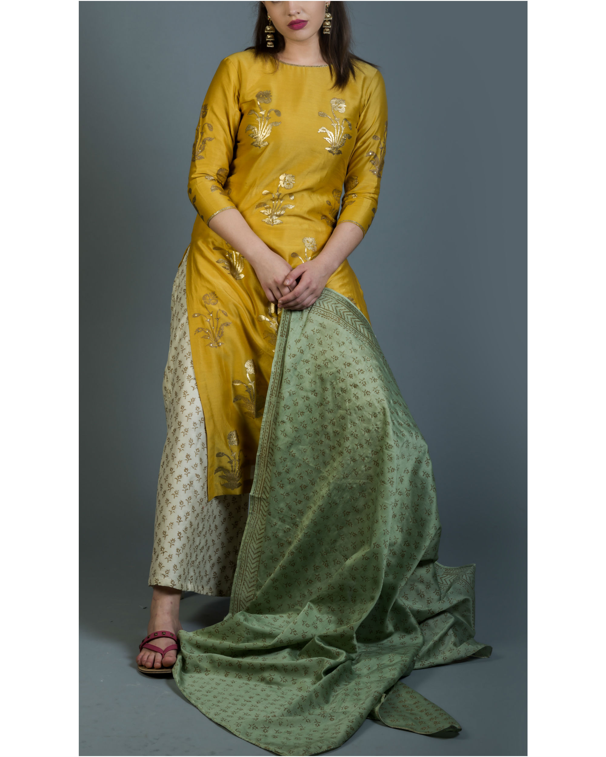 Genda phool kurta set with green dupatta