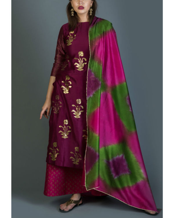 Rangoli kurta set with pink green dupatta