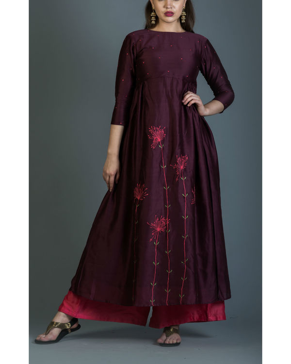 Burgundy dandelion embroidered anarkali set