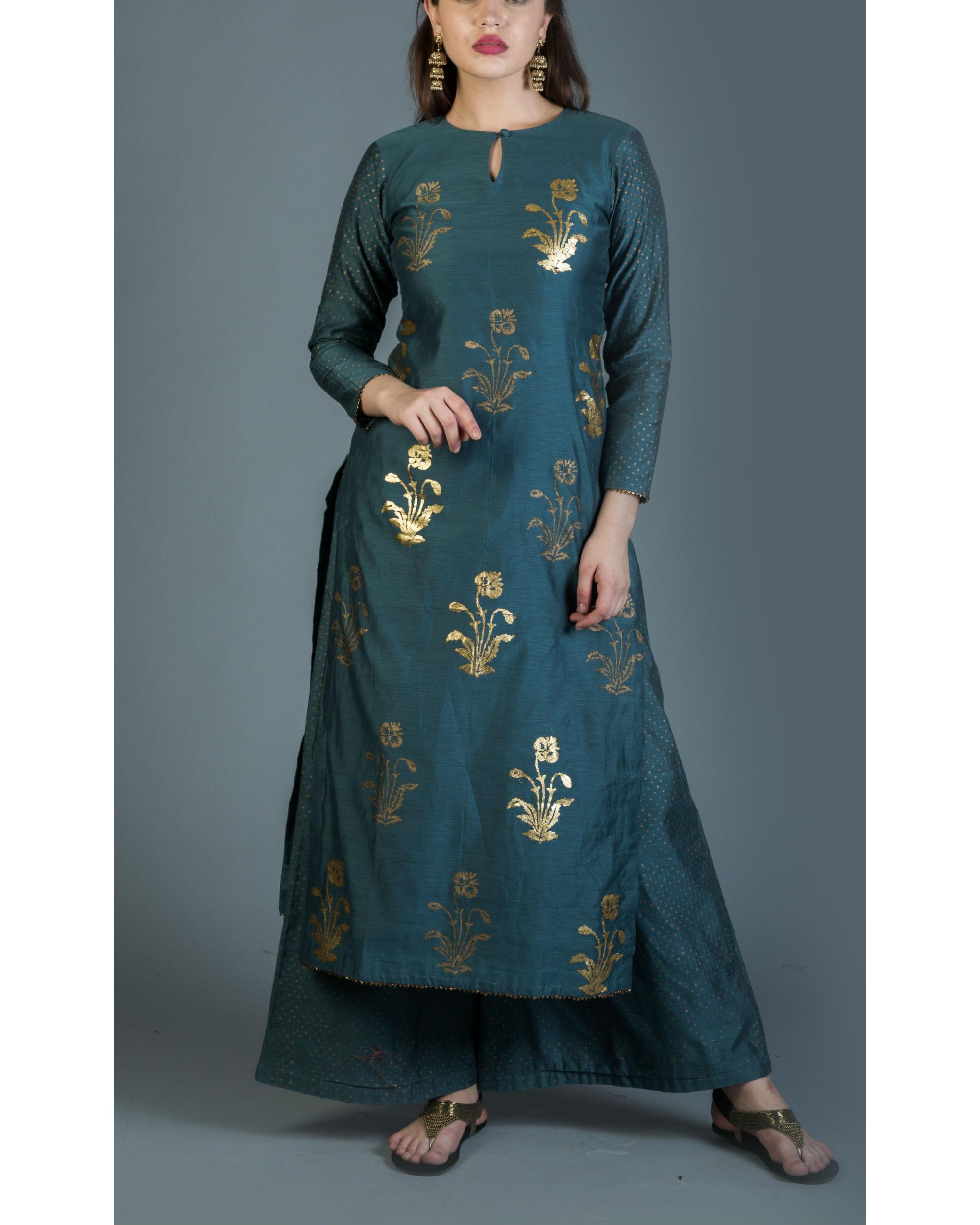 Cornflower blue foil printed kurta