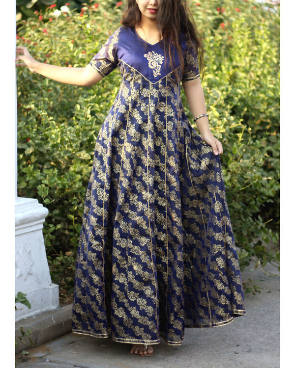 Blue foil print kalidar gown