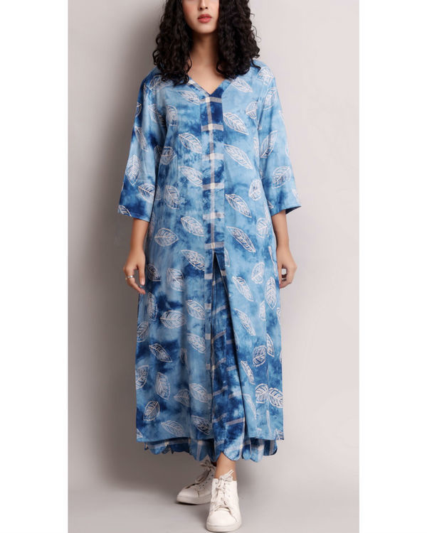 Blue leaf printed kurta set