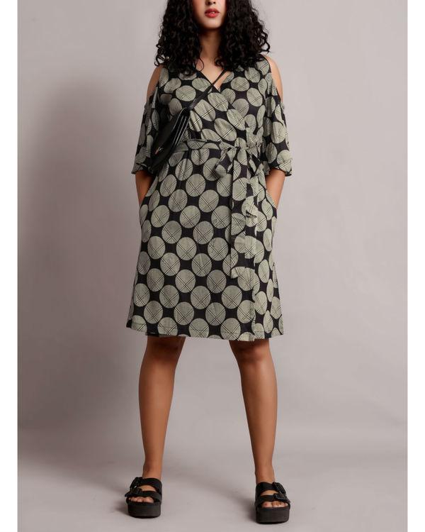 Grey cold shoulder wrap dress