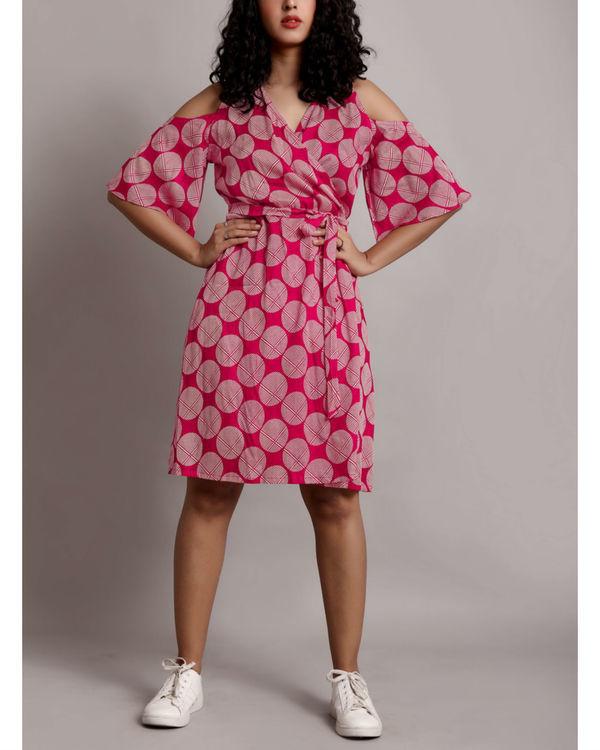 Pink cold shoulder wrap dress