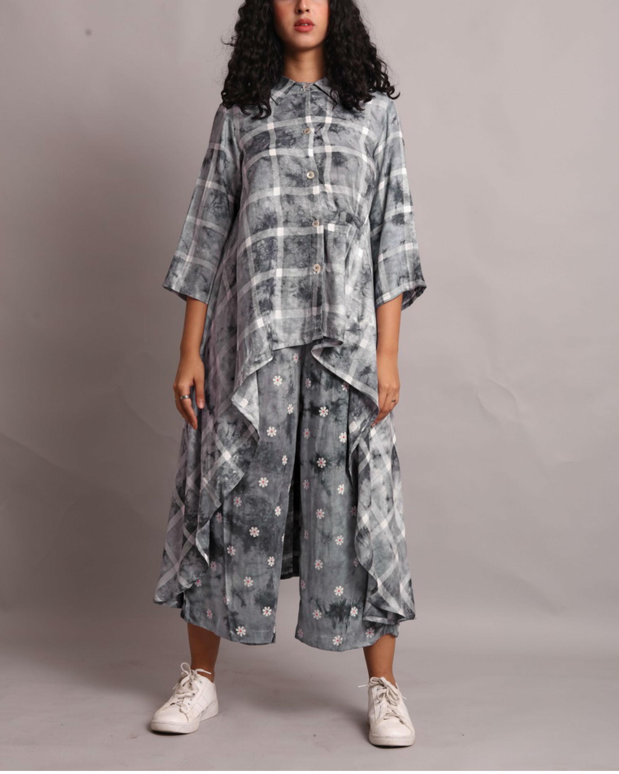 Grey shaded high low kurta set