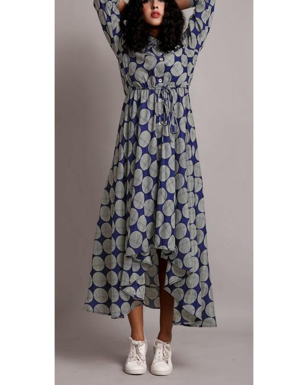 Blue high low drawstring shirt dress