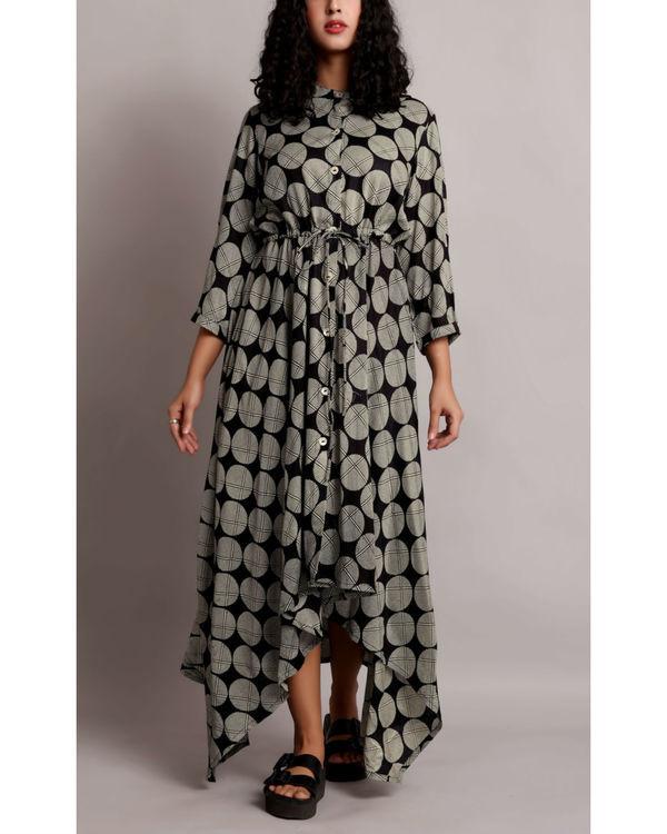 Black high low drawstring shirt dress