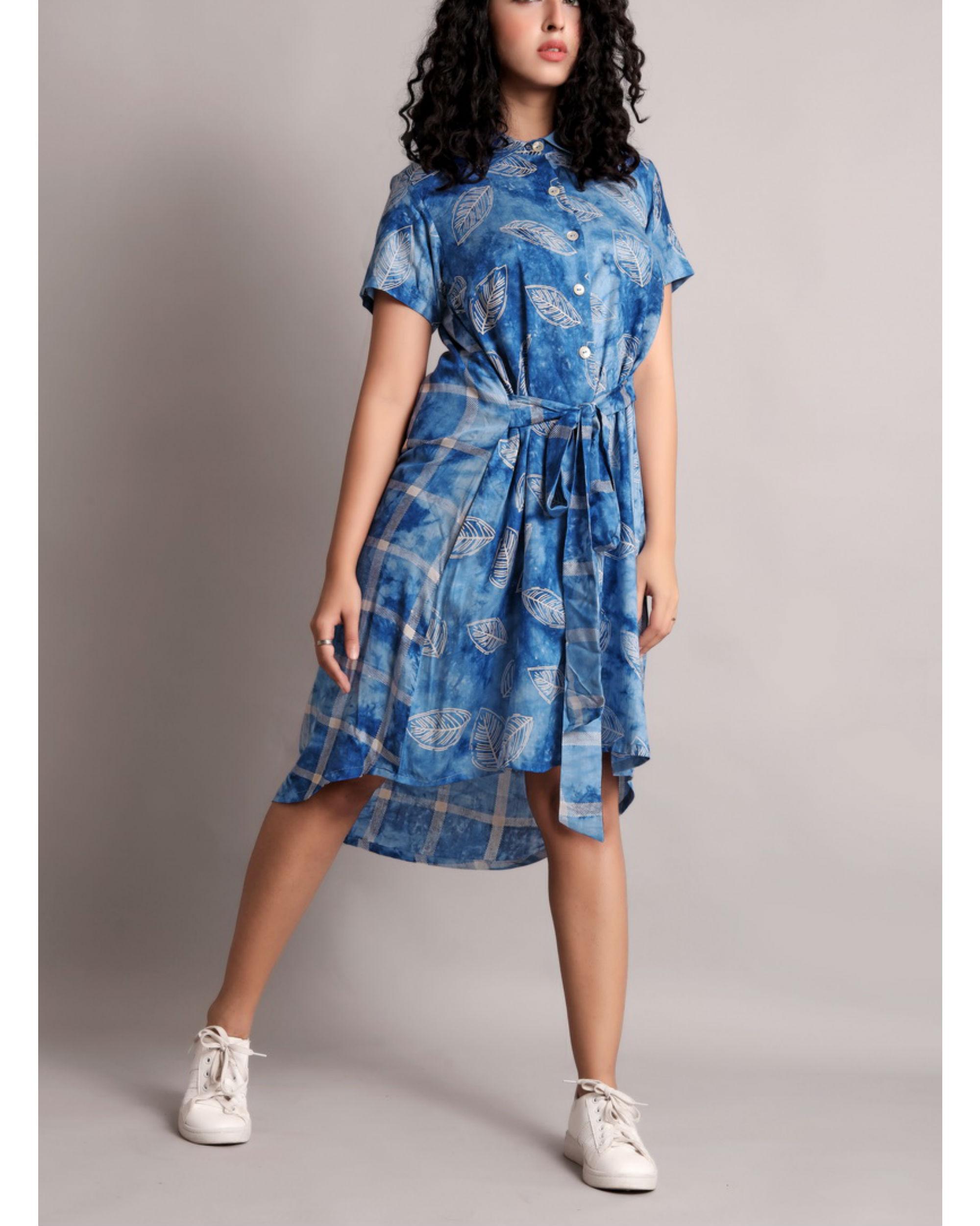 Blue half and half front tie-up dress