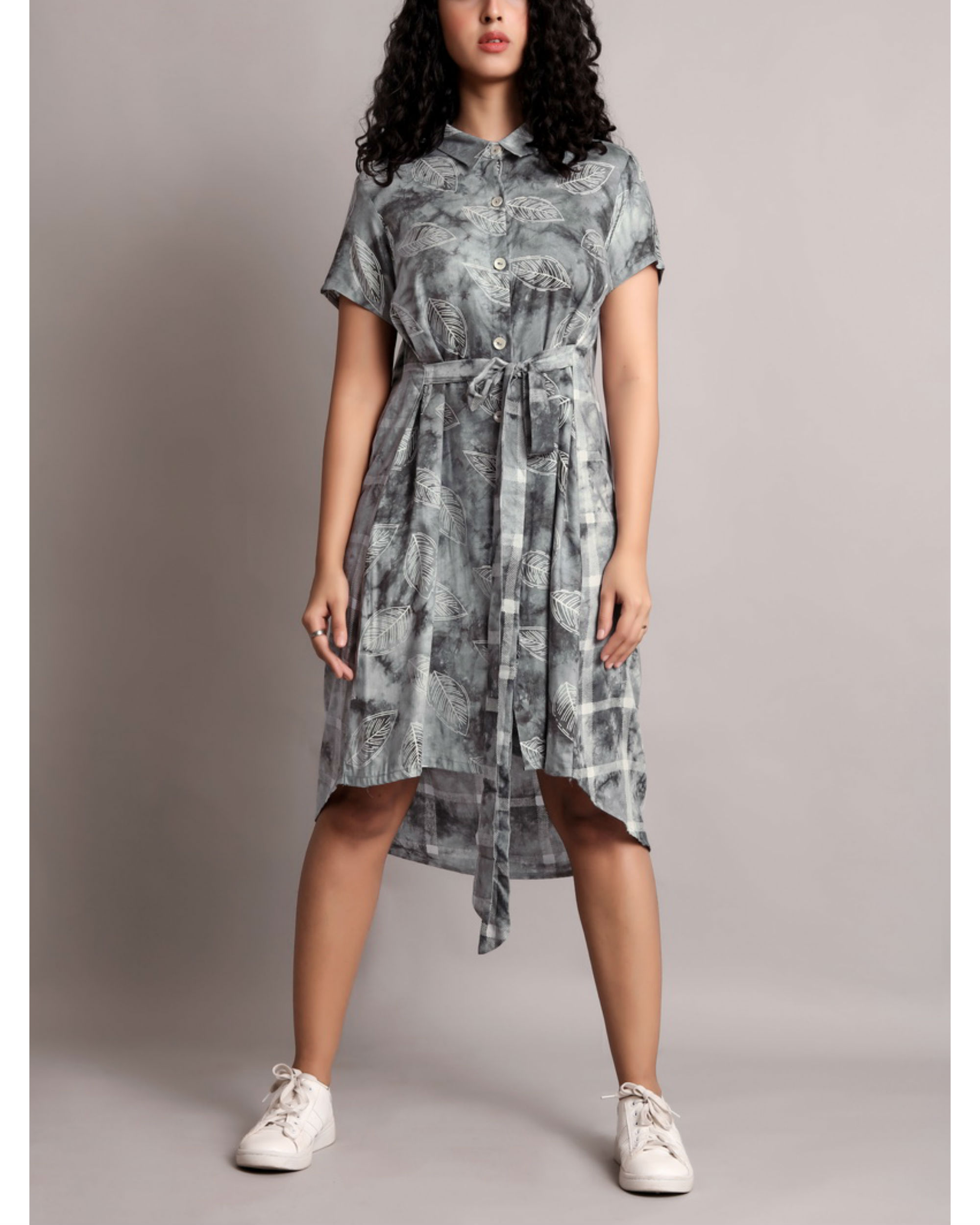 Grey half and half front tie-up dress