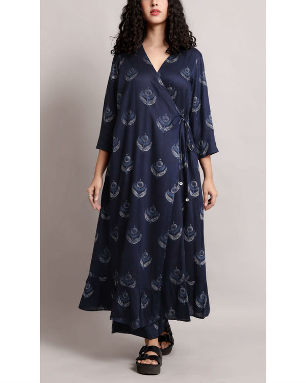 Blue wrap printed kurta set