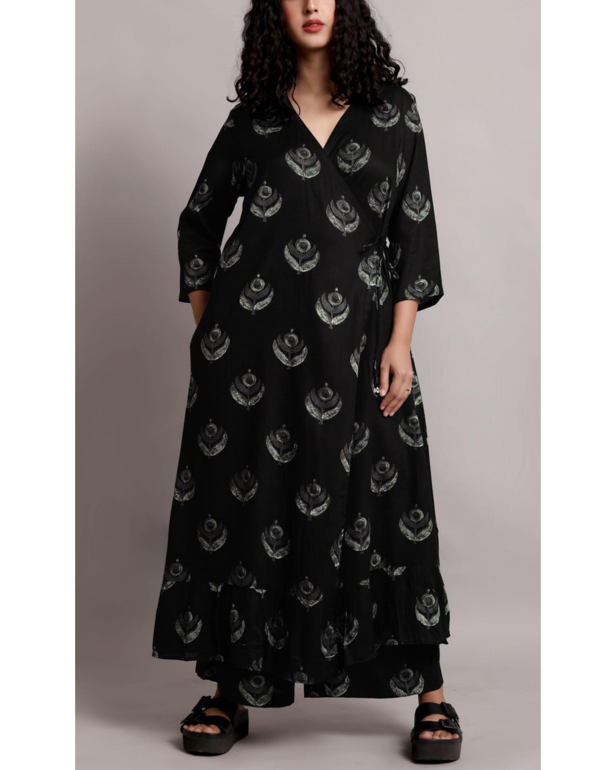 Black wrap printed kurta set