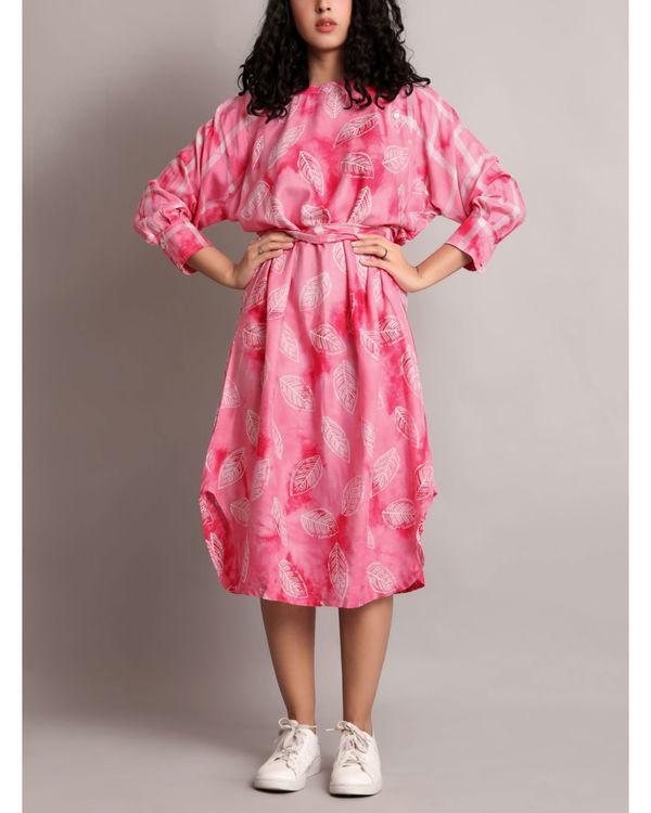 Pink raglan waist tie up dress